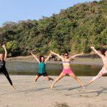 Girls Jump at beach